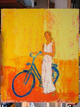 Jacek Łydżba : Blue bicykle, white dress : Oil on Canvas