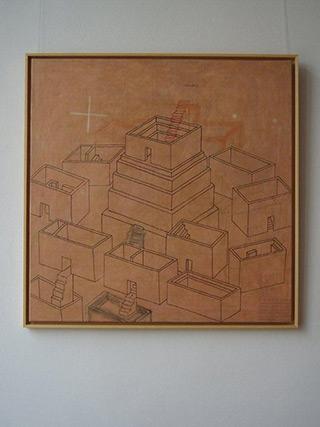 Jolanta Wagner : Tower : Acrylic, indian ink wax, canvas
