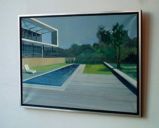 Maria Kiesner : House with swimming pool : Tempera on Canvas