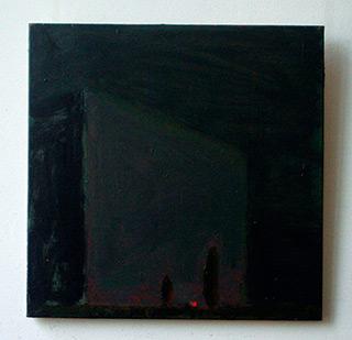 Radek Zielonka : Night landscape with red point : Oil on Canvas