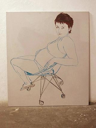 Agnieszka Sandomierz : Pregnant girl : Tempera on Canvas
