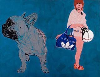 Agnieszka Sandomierz : Girl with the Adidas bag : Tempera on canvas