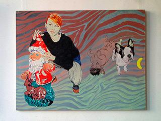 Agnieszka Sandomierz : Girl with the gnome : Tempera on canvas
