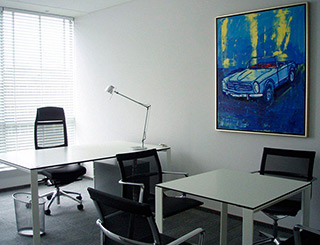 Jacek Łydżba : Blue mercedes : Oil on Canvas