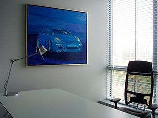 Jacek Łydżba : Blue porsche : Oil on Canvas