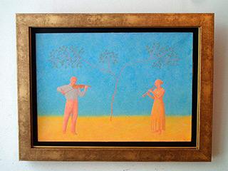 Mikołaj Kasprzyk : Duet under the tree : Oil on Canvas