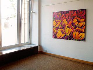 Beata Murawska : Yellow & purple flowers : Oil on Canvas