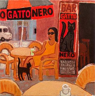 Krzysztof Kokoryn : Gatto nero : Oil on Canvas