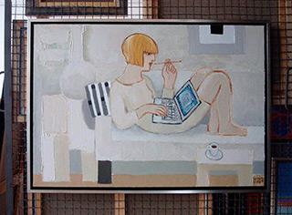 Krzysztof Kokoryn : White lady with laptope : Oil on Canvas