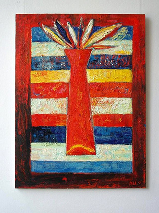 Darek Pala : Vase stripped : Oil on Canvas