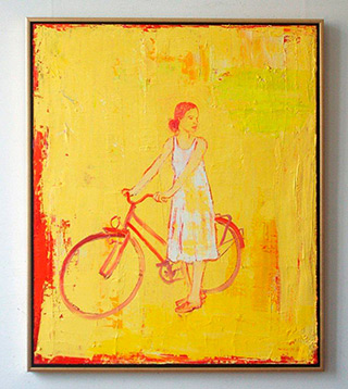 Jacek Łydżba : Yellow cyclist : Oil on Canvas