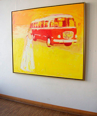 Jacek Łydżba : Young woman and the old bus : Oil on Canvas