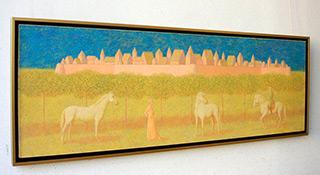 Mikołaj Kasprzyk : Landscape with castle and riders : Oil on Canvas