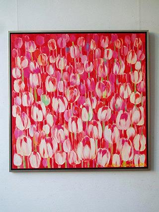 Beata Murawska : Pink square painting : Oil on Canvas