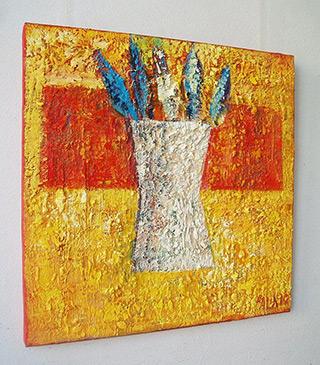 Darek Pala : Vase with cornflowers : Oil on Canvas