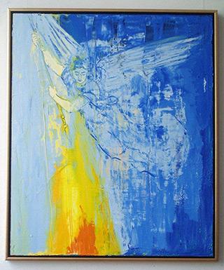 Jacek Łydżba : Angel with flame : Oil on Canvas