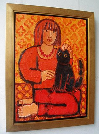 Krzysztof Kokoryn : Girl with cat : Oil on Canvas