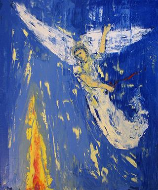 Jacek Łydżba : Blue Angel with Flame : Oil on Canvas