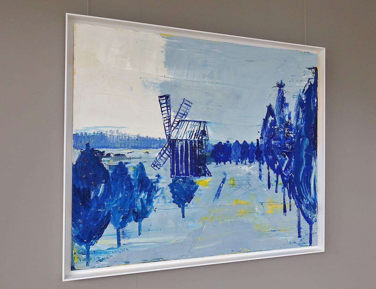 Jacek Łydżba : Winter landscape with a windmill