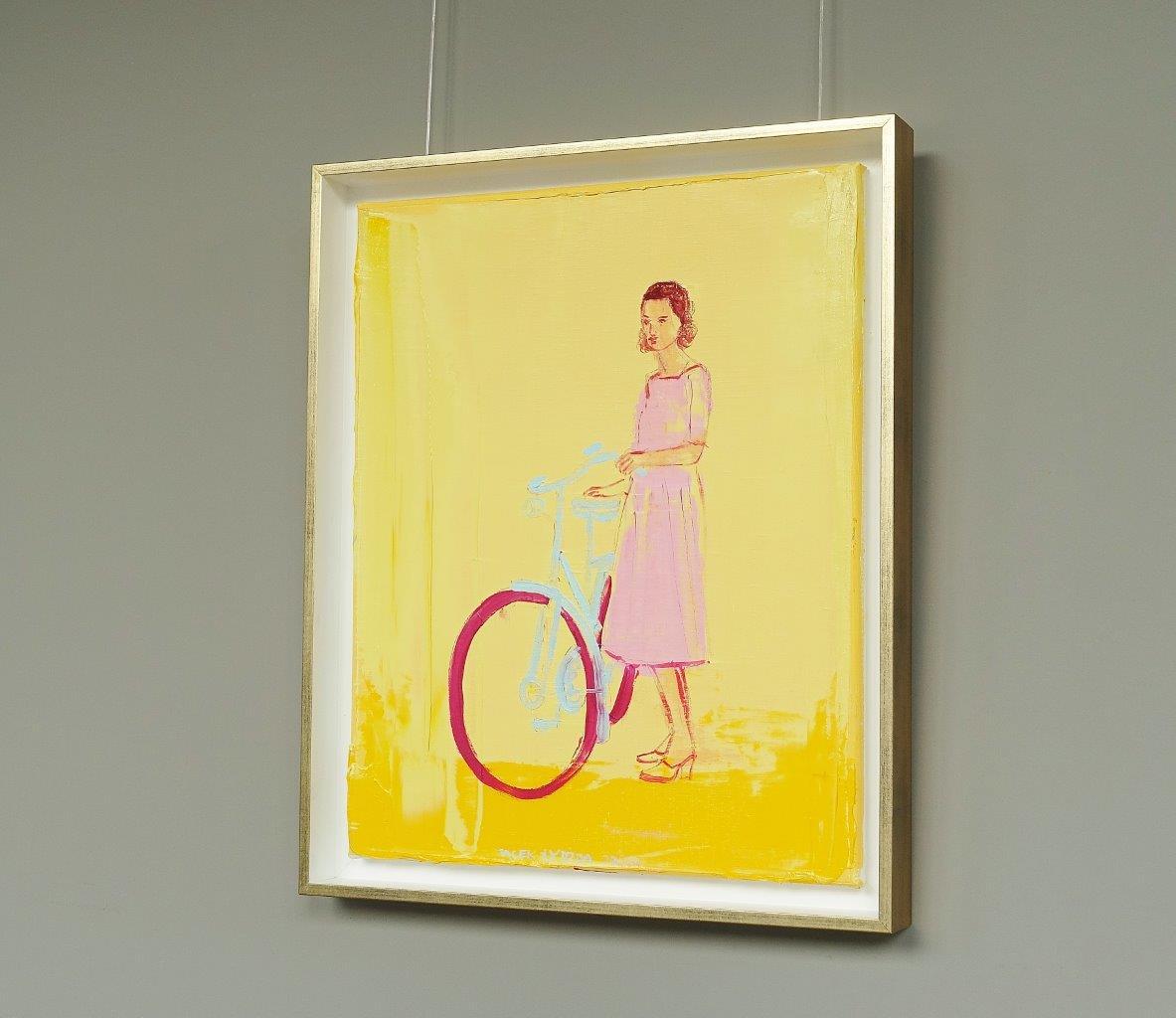 Jacek Łydżba : Cyclist in a pink dress